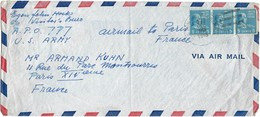 Letter Air Mail US Army Postal Service, Dec.29 1948 A.P.O.777 To Paris France, 3stamps 5 Cents (2scans) - Etats-Unis