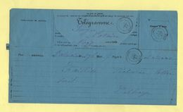 Telegramme - Pour Cassel Nord De Valenciennes - 1887 - Telegramas Y Teléfonos