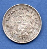 Pérou  -  1/5 Sol 1875 YJ  --  Km # 191   --  état  SUP - Pérou