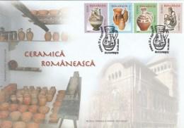 CERAMICS, ROMANIAN CERAMICS, OBOGA, SACEL, HOREZU, CORUND, COVER FDC, 2005, ROMANIA - Art