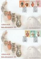 CERAMICS, CURTEA DE ARGES, VAMA, BARSA, CORUND, LEHECENI, VLADESTI, VALEA IZEI, COVER FDC, 2X, 2005, ROMANIA - Art