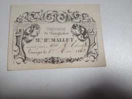 LIMOGES Témoignage De Satisfaction MLE Hte MALLET, 1852, Carte - Diplomi E Pagelle