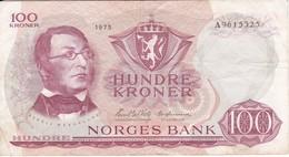 BILLETE DE NORUEGA DE 100 KRONER DEL AÑO 1975  (BANKNOTE) - Norvège
