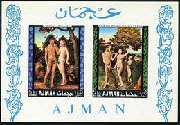 Ajman Bl 41, Non Dentele, Adam And Eve, Nudes, Neuf** Sans Charniere, Minkus 251 - Ajman