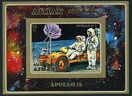 Ajman Bl 279 Imperf Moon Rover, Apollo 15, Neuf** Sans Charniere, Mint NHa, Minkus 748 - Ajman