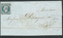 Yvert N° 14 (defaut ) Oblitéré  Petits Chiffres 2232, Nay Dpt 66  En Nov 1854   Lr31213 - 1849-1876: Periodo Clásico