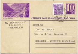 Carte Postale 10 R.+ Timbre 10r. Cachet Genève Champel 6.5 1939 Vers Hodimont-Verviers(Belgique) 2 Scans - Entiers Postaux