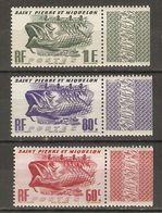St Pierre Et Miquelon 1947 - Morue - 3 Timbres MNH Guillochés - 329/31 - St.Pierre Et Miquelon