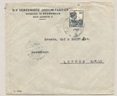 Nederlands Indië - 1922 - 30 Cent Wilhelmina Met Scheepje - Enkelfrankering Van Soerabaja Naar London / UK - Indes Néerlandaises