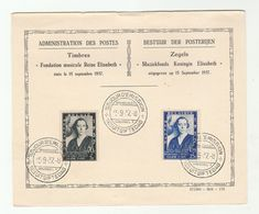 1937 Belgium FDC Card EUGENE YSAYE VIOLIN Queen Elizabeth MUSIC FOUNDATION  Stamps Cover - Belgium