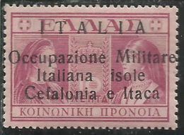 CEFALONIA E ITACA 1941 PREVIDENZA SOCIALE DEL 1939 DRACME 10D +10 D MNH - 9. Occupazione 2a Guerra (Italia)