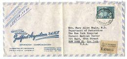 Argentina 1961 Registered Airmail Cover Buenos Aires To U.S. W/ Scott 698 Nahuel Huapi Lake - Argentina