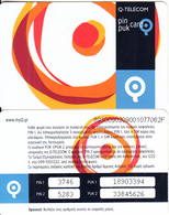 GREECE - Q Telecom Pin-puk Card(glossy Surface), Used - Greece