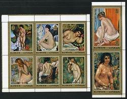 Ajman 853-860 Nude Paintings By Renoir, Neuf** Sans Charniere, Non Dentele, Mint NH, Minkus 1112-1119 - Ajman