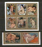 Ajman 853-860 Imperf Nude Paintings By Renoir, Neuf** Sans Charniere, Mint NH, Minkus 1112-1119 - Ajman