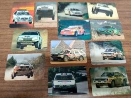 "12 Portuguese Pocket Calendars ""Carros, Car, Rallye, Porche, Lancia,Austin..."", Advertising, Porto, Portugal, Year 1988 - Calendari"