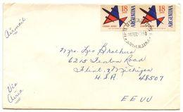 Argentina 1961 Airmail Cover Rosario To Flint, Michigan W/ Scott C90, Pair - Argentina
