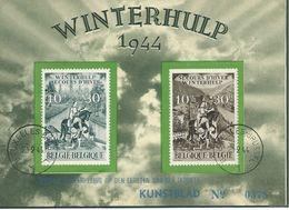 België   B.O.C.  639 - 640    (O)  Winterhulp   Kunstblad  Genummerd : 0375  1e Dagstempel - Feuillets