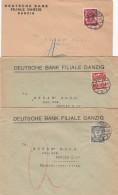 Deutsches Reich Danzig 3 Briefe 1925 - Germania