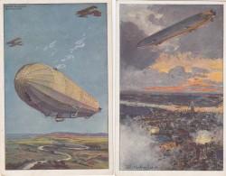 Deutsches Reich 2 Postkarten Unsere Luftvlotte - Deutschland