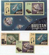 Bhutan 69-71, Bl 4 Telstar, ITU, Neuf** Sans Charniere, Mint NH, Scott 53-55, 55a - Bhutan