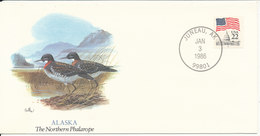 USA Cover Juneau AK. 3-1-1986 Alaska The Northern Phalarope With Cachet - Enveloppes évenementielles