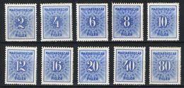 HUNGARY 1934. Blue Porto / Postage Due Set MNH (**) Michel: 125-134 - Postage Due