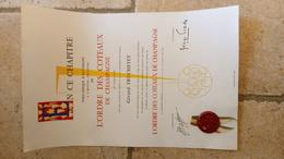 CONFRERIE L ' ORDRE DES COTEAUX DE CHAMPAGNE à GERARD TRUCHETET Cuisinier Corbigny Nièvre 1983 L'HOTEL FRANTEL - SCEAU - - Diplomi E Pagelle