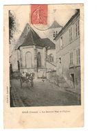 89 Migé La Grande Rue Et Eglise Cpa Carte Animation Cachet 1905 - Autres Communes