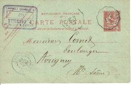 1909 - Carte Entier Postal - De Ornans Pour Avrigny - Tp Mouchon 10ct (n°125) - Entiers Postaux