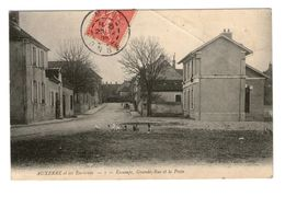 89 Escamps Grande Rue Et La Poste Cachet 1907 Marque Postale V - Autres Communes