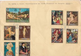 FAMOSAS PINTURAS MUSEO DE BERLIN. SOBRE ENVELOPE GRAND FORMAT PARAGUAY OBLIT FDC YEAR 1971. SE TENANT-RARE- BLEUP - Paraguay
