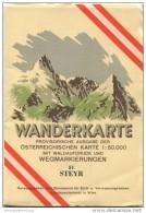 51 Steyr 1953 - Wanderkarte Mit Umschlag - Provisorische Ausgabe Der Österreichischen Karte 1:50.000 - Herausgegeben Vom - Landkarten