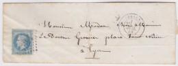 France   .  Yvert   .  22  Sur  Lettre    .        O      .   Oblitéré  .   /   .   Cancelled - 1862 Napoléon III