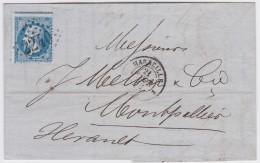 France   .  Yvert   .  22  Sur  Lettre    .        O      .   Oblitéré  .   /   .   Cancelled - 1862 Napoléon III.
