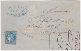 France   .  Yvert   .    46B  Sur Lettre        .        O      .   Oblitéré  .   /   .   Cancelled - 1870 Ausgabe Bordeaux