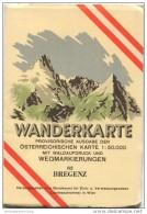82 Bregenz 1955 - Wanderkarte Mit Umschlag - Provisorische Ausgabe Der Österreichischen Karte 1:50.000 - Herausgegeben V - Landkarten