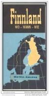 Finnland - Wo Wann Wie 1963 - Landkarte Und Wissenswertes Für Den Touristen Mit Illustrationen Von Hele 62 - Finnland