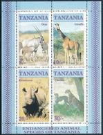 Bl. 58 Tansania In Einwandfreier Postfrischer/** Erhaltung - Onyx Giraffe Nashorn Gepard - Rhinozerosse