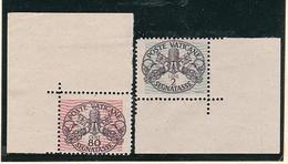 1946 Vaticano Vatican SEGNATASSE  POSTAGE DUE 80c E 2L Righe Larghe Carta Bianca MNH** Firma Biondi - Postage Due