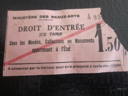 1937 Visite  Musée Du LOUVRE à PARIS  DEMI TARIF BILLET TICKET ENTREE ADMISSION BIGLIETTO DI ENTRADA - Biglietti D'ingresso