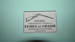 LEPAGE ARQUEBUSIER DU ROI - FUSILS De CHASSE SE RECHARGEANT PAR LA CULASSE - PUBLICITE DE 1837. - Publicités
