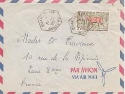 LETTRE. SENEGAL. 21 3 61. CACHET EXAGONAL OUAKAM-AIR POUR PARIS  / 1049 - Senegal (1960-...)