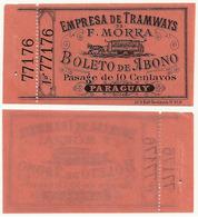 PARAGUAY - RARE TRAMWAY TICKET F. MORRA ASUNCION - Ca. 1890 - Paraguay