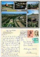 Chile 1991 Postcard Santiago - Planetarium, Metro Subway, Panoramic Views To U.S. - Chile