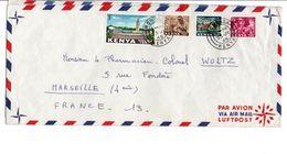 KENYA AFFRANCHISSEMENT COMPOSE SUR  LETTRE AVION DE MONBASA POUR LA FRANCE 1965 - Kenya (1963-...)
