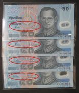 Thailand Banknote 50 Baht Series 15 Polymer Completed Set Of 4 Signatures - Thailand