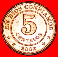 # RAINBOW: NICARAGUA ★ 5 CENTAVOS 2002 MINT LUSTER! LOW START ★ NO RESERVE! - Nicaragua