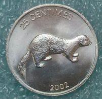 Congo - DRC 25 Centimes, 2002 Animal - Weasel ↓price↓ - Congo (République Démocratique 1998)