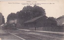 Uchizy - La Gare (Le Train Va Redémarrer, Texte Historique Du Tronçon P.L.M.) Circulé 1919, Sous Enveloppe - Other Municipalities